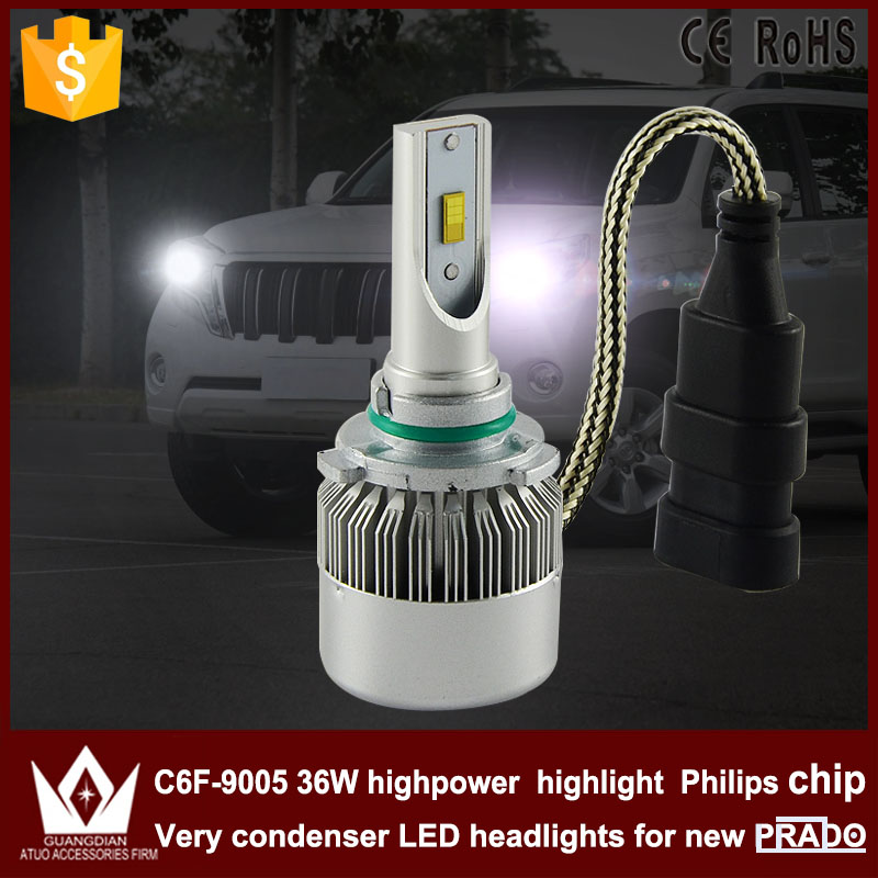 Guang Dian car accessories led light 9005 Headlight 3800Lm Head lamp 9005 HB3 bulb High beam C6F 6000K white for Prado 2010-2015 guang dian car interior lamp roof bulb