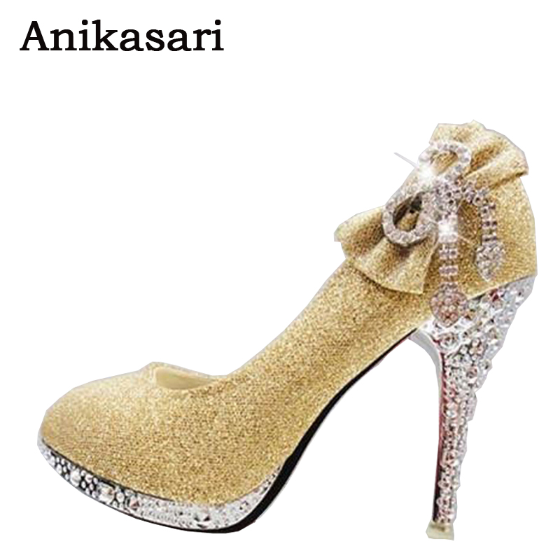 все цены на Wedding Shoes Woman High Heels Crystal Diamond Women Shoes Platform Bridal Shoes High-heeled Dress Shoes Women Pumps Size 34-41 онлайн