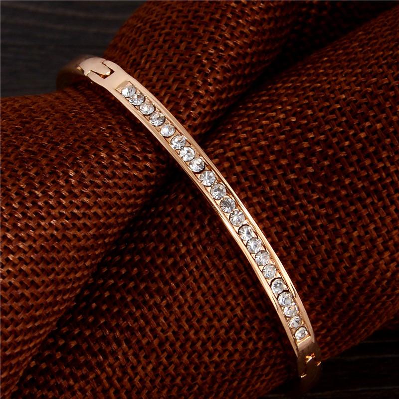 SHUANGR Fashion Rose Gold Color Jewelry Austrian Crystal Classic Lady's Closed Bangle Bracelets, Women's Bracelet 11