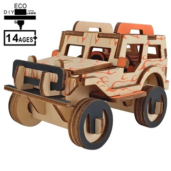 Laser Cutting 3D Wooden Puzzle Jigsaw Vehicle Jeep DIY Assembly Kids Educational Wooden Toys For Children Boys laser cutting 3d wooden puzzle jigsaw construction ferris wheel diy manual assembly kids educational wooden toys for children