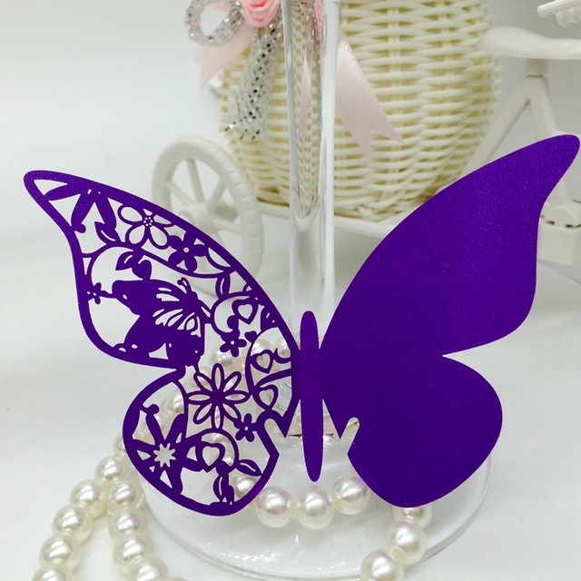 120PC/lot Purple Party Table Name Place Cards Laser Cut 3D Butterfly ...