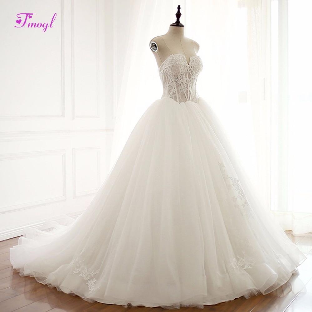 Fmogl Strapless Lace Up Appliques Ball Gown Princess Wedding Dresses 2018 Graceful Ruffles Organza Wedding Gown Vestido de Noiva