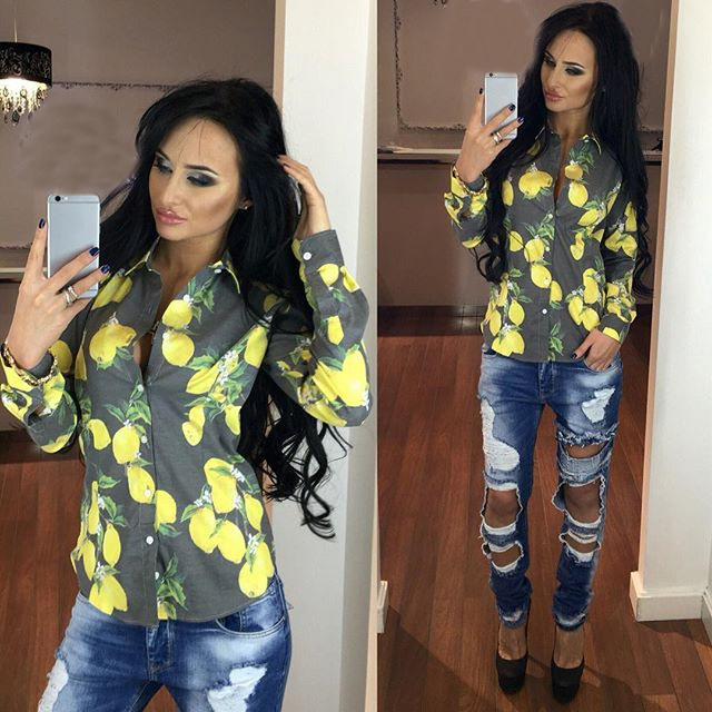 2016 Women Letter Floral Print Casual Style New Arrival Fashion Notched Summer Hot Sale Polyester