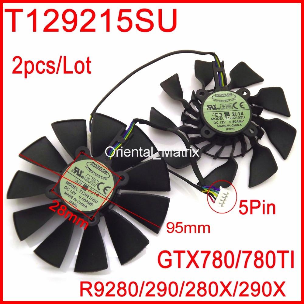 T129215SU 12V 0.5A 95mm For ASUS GTX780 GTX780TI R9 280 290 280X 290X Graphics Card Cooling Fan galaxy gtx 780 hof
