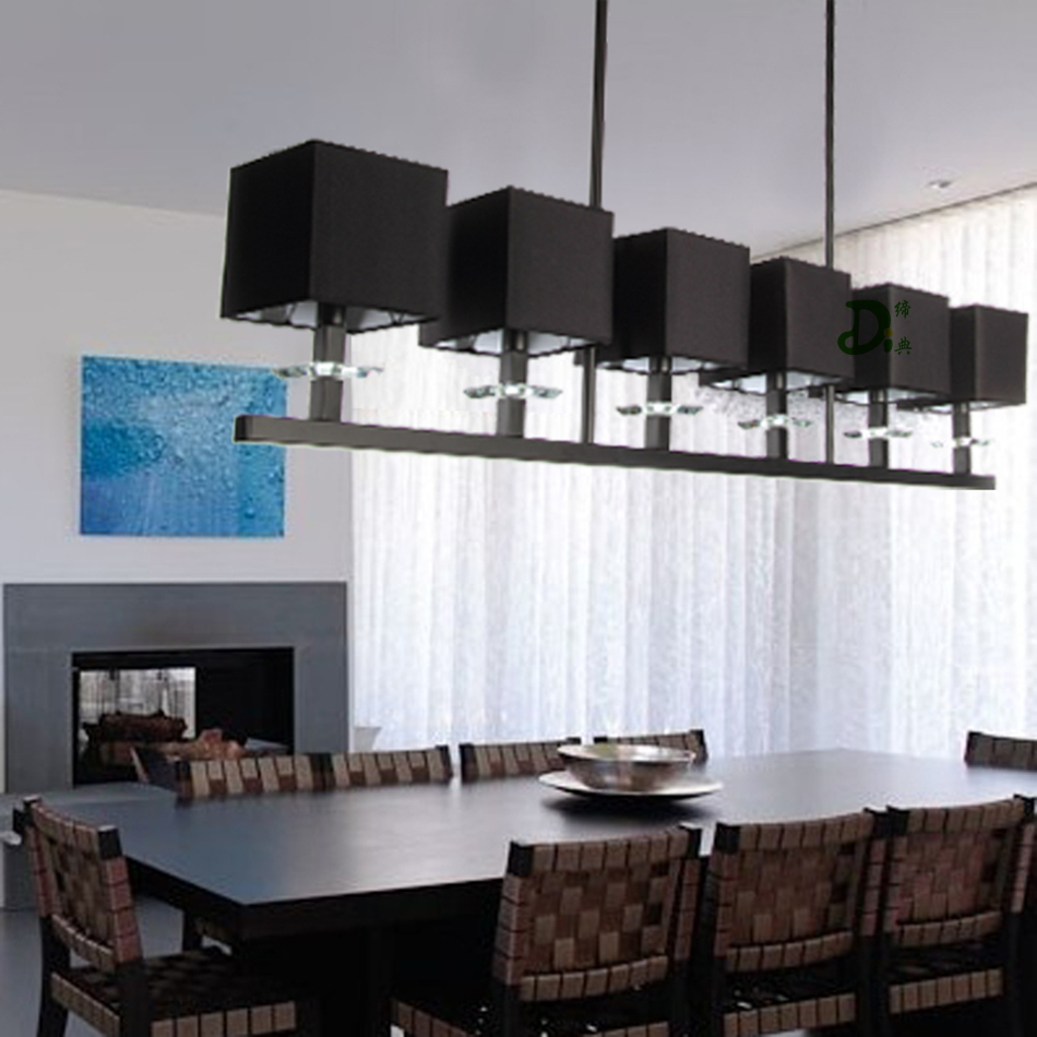 Free Shipping Chandelier Rectangle Stainless Steel Body Lighting Black Cloth Fabric Lampshade Dining Room Restaurant Fixture