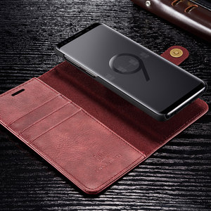 Image 4 - Magnetic Leather Wallet Case For Samsung A3 A5 J3 J5 2017 EU Flip Purse For A7 A6 A8 Plus 2018 Kickstand 360 Protective Cover