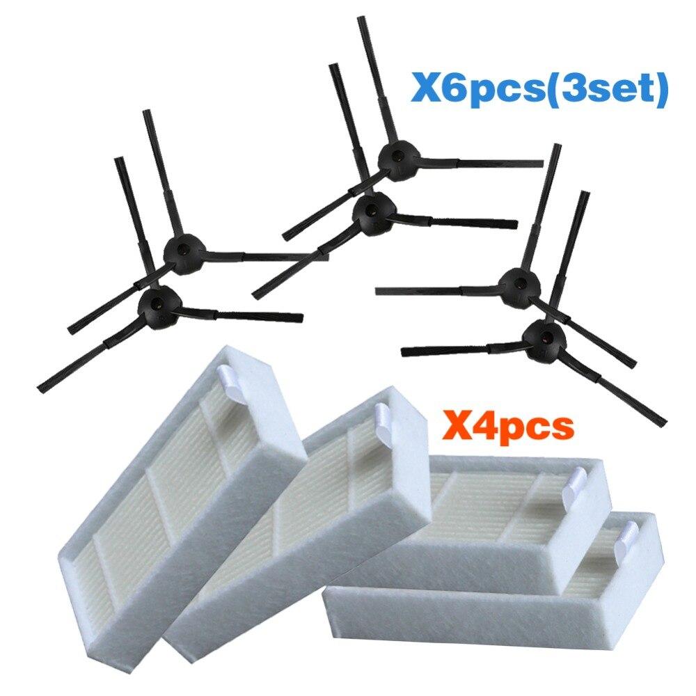 Free Shipping Vacuum Cleaner Accessories Pack For Ilife V5 X5 Panda X500 ECOVACS CR120 X600 Side Brush X 6pcs+ Hepa Filter X4pcs