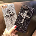 Case On For iPhone 6 6s & iPhone 6 6s plus & iPhone 7 7 plus 3D Diamond Encrusted Cross Glitter Sequins Protective Back Cover