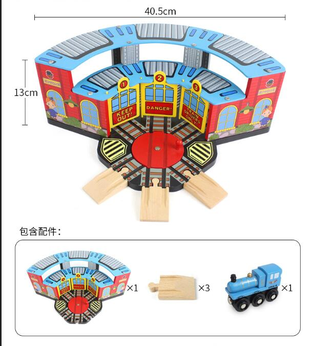 EDWONE One Set Big Wooden Train Track Railway Big Train Station Train Rest Room Compatible with