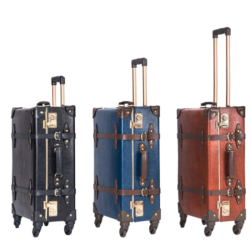LeTrend Rétro Véritable Cuir Noir Bagages À Roulettes Spinner Femmes Chariot Valise Roues 20 pouce Vintage De bagage À main Voyage