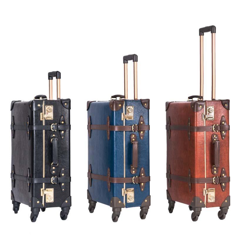 Begeistert Letrend Retro Echtem Leder Schwarz Roll Gepäck Spinner Frauen Trolley Koffer Räder 20 Zoll Vintage Kabine Reisetasche