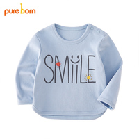 2018 Bebek çocuk Uzun Kollu Üstleri Yaz T Shirt Gülümseme Baskılı Giysileri Pamuk Bebek Erkek Kız Giyim Pureborn