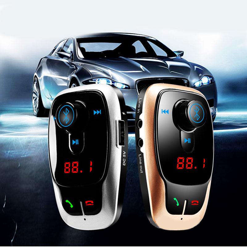 ENKLOV Gold Silver Car Bluetooth Handsfree Car MP3 Player Dual USB Charger Transmitter FM Car Transmitter Bluetooth Car Kit