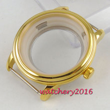 40mm parnis High quality Sapphire Glass Yellow Golden hardened Newest HOT Watch Case fit ETA 8215 2836 miyota 82 Movement 42mm pvd coated case black aluminum alloy bezel watch case fit eta 2824 2836 dg2813 3804 miota 8215 8205 821a movement c18