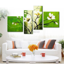 Modern Abstract oil Painting green flower Wall Art Handmade Canvas Living Room Pictures Decor Set Cheap Sale 4p12