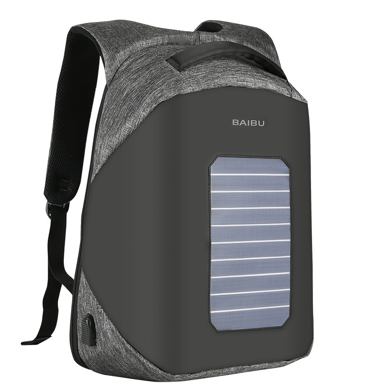 2017 BAIBU Fashion Men's Anti-theft Backpacks USB Design Solar Charge 15.6 Inch Laptop Business Backpack Waterproof Travel Bag