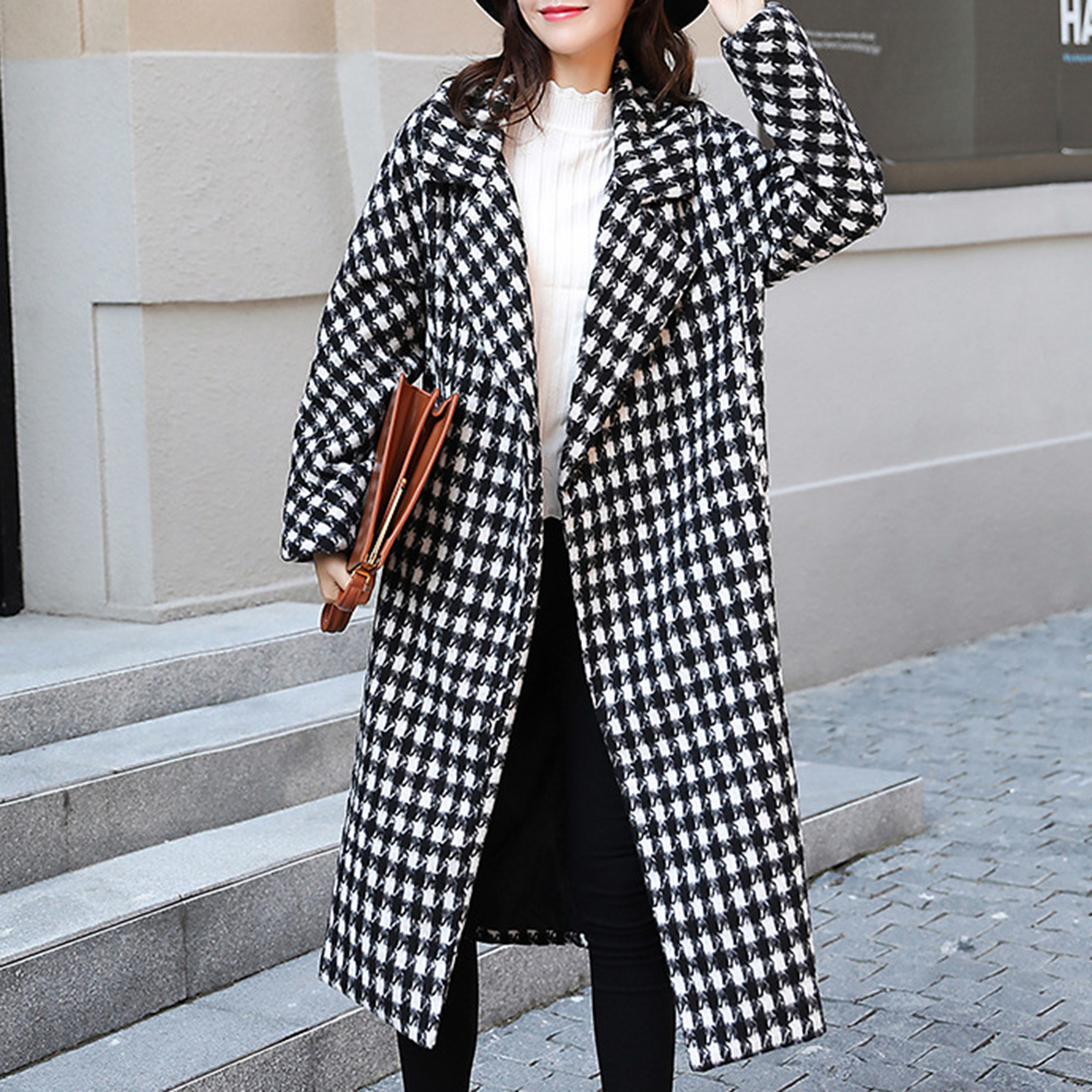 2018 new autumn women trench long overcoat straight houndstooth wool long sleeve turn down collar fashion coat