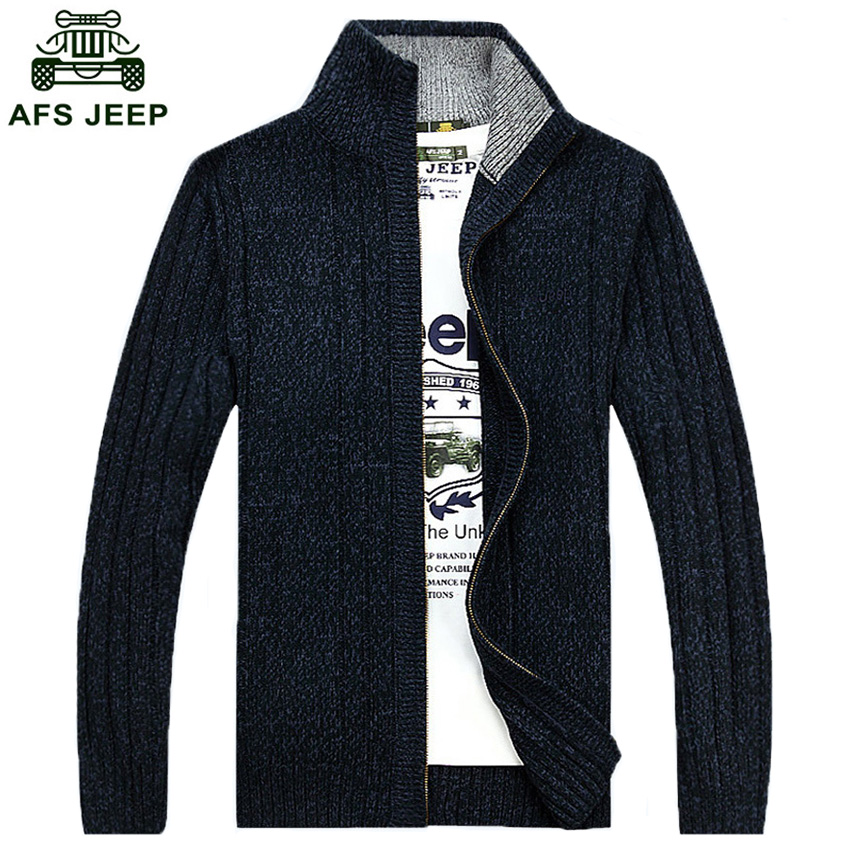 Free Shipping Men Solid Colors Mens Sweater AFS JEEP Brand 2018 New Casual Cardigans Sweaters Plus Size M 3XL 75