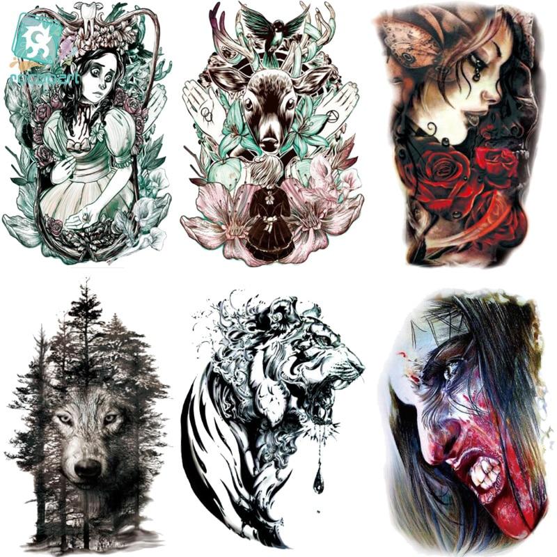 Rocooart LC-522-921 Body Art HD Halloween Tatoo Sticker Assassin Women Colorful Deer Wolf Skull Temporary Tattoo Stickers