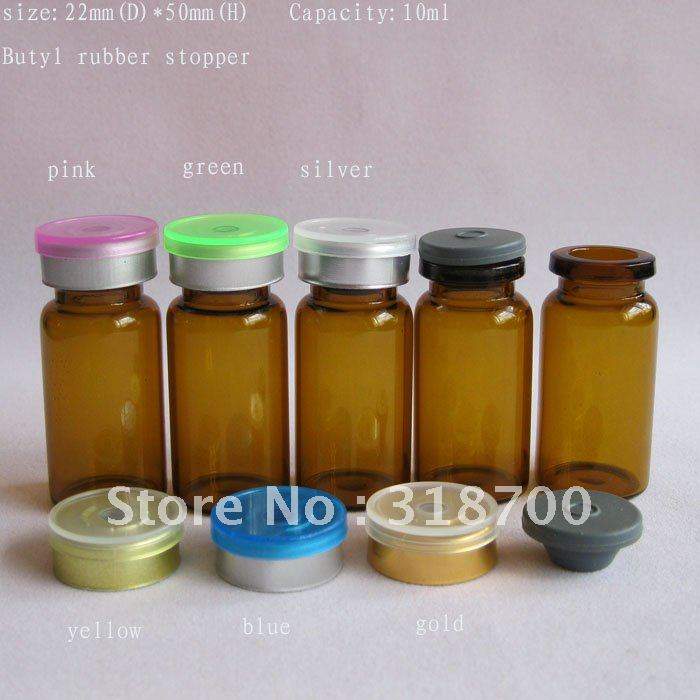 10ml Amber Tubing Glass Vial With Butyl Stopper With Flip