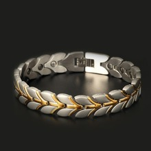 Venta caliente saludable magnética hottime pulseras y brazaletes de cadena de joyería para los hombres al por mayor de acero inoxidable chapado en oro jewelry10108