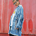 Плюс Размер Женщин Пальто Осень Ретро улица письмо дизайн лазейки Свободные джинсовые ветровка куртка женская Мода Большой Размер пальто