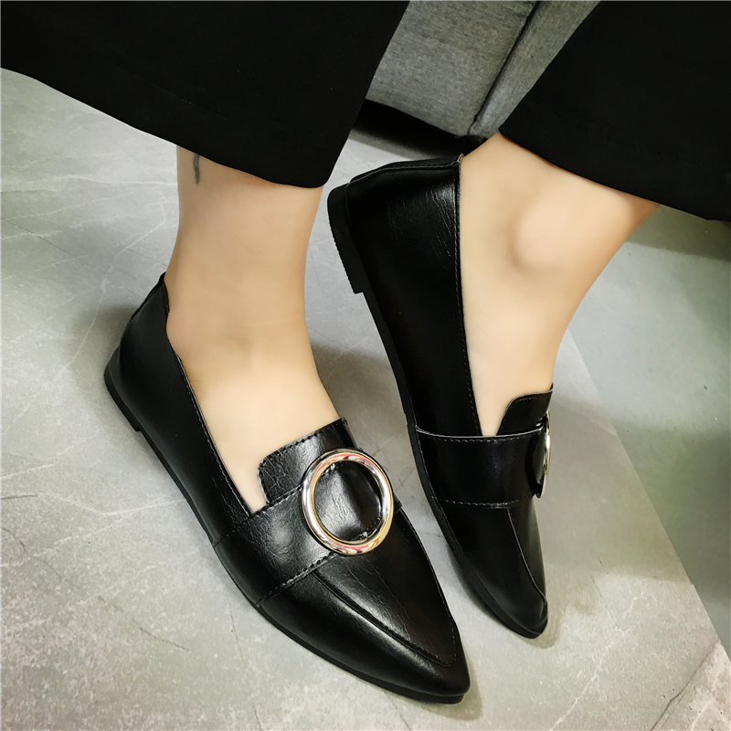 2017 vintage fashion big round metal buckle pointed toe flat heel leather shoes women spring all match flats loafers 2016 autumn fashion women full grain leather flat heel white shoes student bling round toe leather brand basic flats loafers
