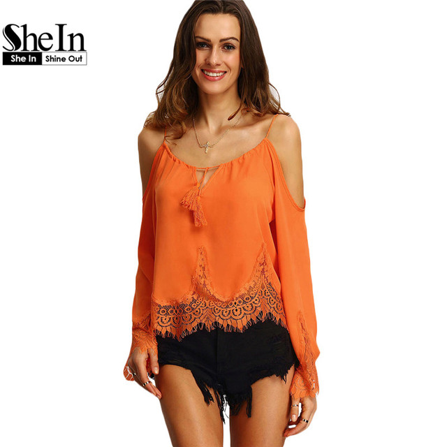 SheIn Summer Clothes For Women 2016 New Tops Womens Orange Cold Shoulder Long Flare Sleeve Lace Trim Beach Blouse