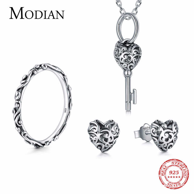 Modian 100% Real 925 Sterling Silver Vintage Jewelry Sets Classic Fashion With Ring Necklace Pendant For Women Wedding Jewelry