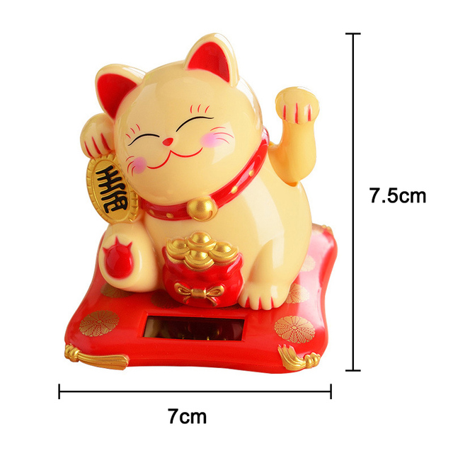 Waving Hands Lucky Cat Wealth Fortune Cat Ornament for Home Office Checkout Counter Decor MDJ998