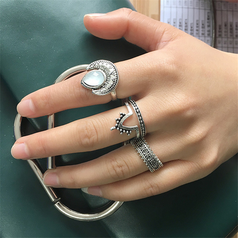 4 Pcs Women Gold Silver Punk Retro Carved Elephant Finger Knuckle Rings Gift Set