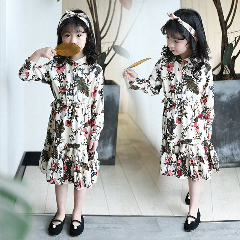 Baby Girl Dress Princess Costume 2017 autumn Long Sleeve Kids Clothes Printed Flower Leaves Children Dress 3 6 8 10 12 years old girl summer dress for 12 years old sleeveless children printed cartoon princess graffiti dress children polyester girl clothes