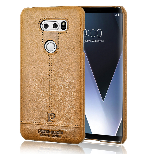 new concept 57724 926dd US $30.0  Original Pierre Cardin Genuine Leather Cases Luxury Brand Back  Case For LG V30 Ultra Thin Hard Cover Case For LG V30 Coque-in Fitted Cases  ...