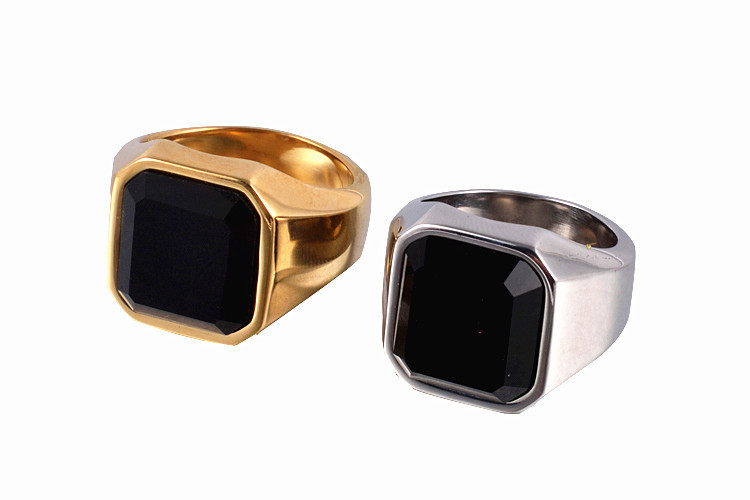 Square Black yx Stone Thick Band Ring Men In Titanium Stainless