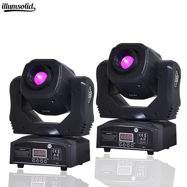 2 PCS Hot Sale Mini Spot 60W LED Moving Head Light With Gobos Plate&Color Plate,High Brightness 60W Mini Led stage Light DMX512
