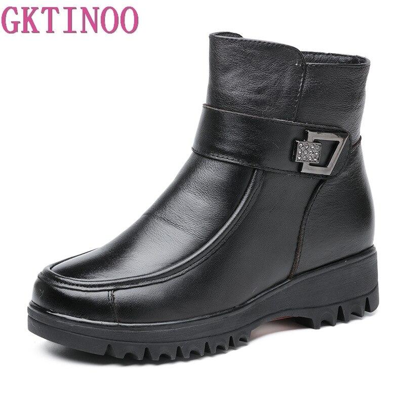 GKTINOO Lã Grossa Botas De Neve 2019 Mulheres de Couro Genuíno Cunhas Plataforma Ankle Boots Para Mulheres Inverno Quente Sapatos À Prova D' Água