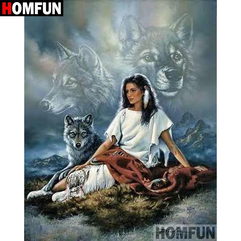 """HOMFUN 5D DIY алмазная живопись полная квадратная/круглая дрель """"Индийский волк"""" вышивка крестиком подарок домашний Декор подарок A09120"""