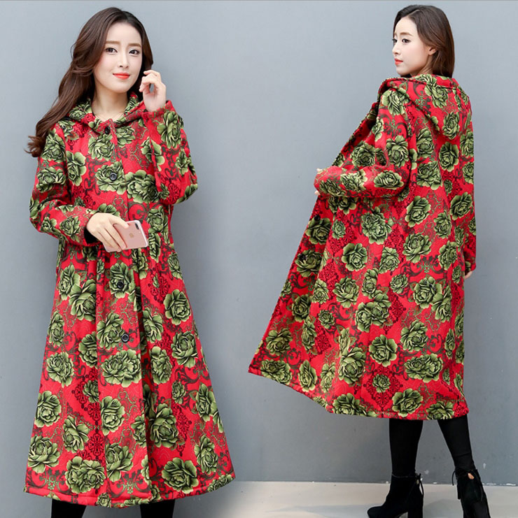 Winter new cotton and linen retro style winds longer to increase the floral thick coat new elastic cotton and linen male