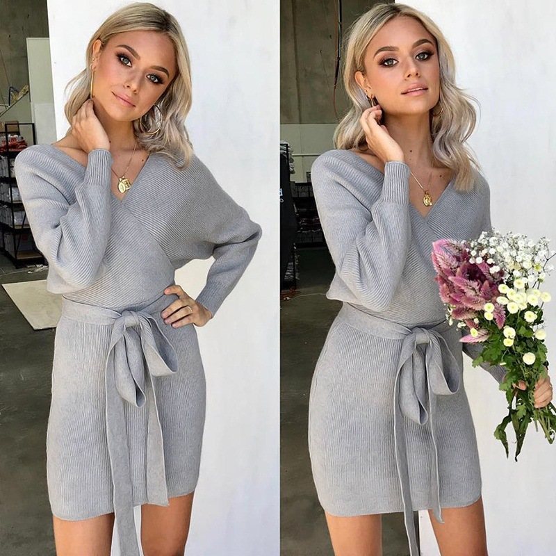 Women's Clothing Cheap Price Danjeaner Sexy Party Dress Winter Long Sleeve V-neck Package Hip Knitted Sweater Dress Solid Slim Fit Mini Dresses With Sashes