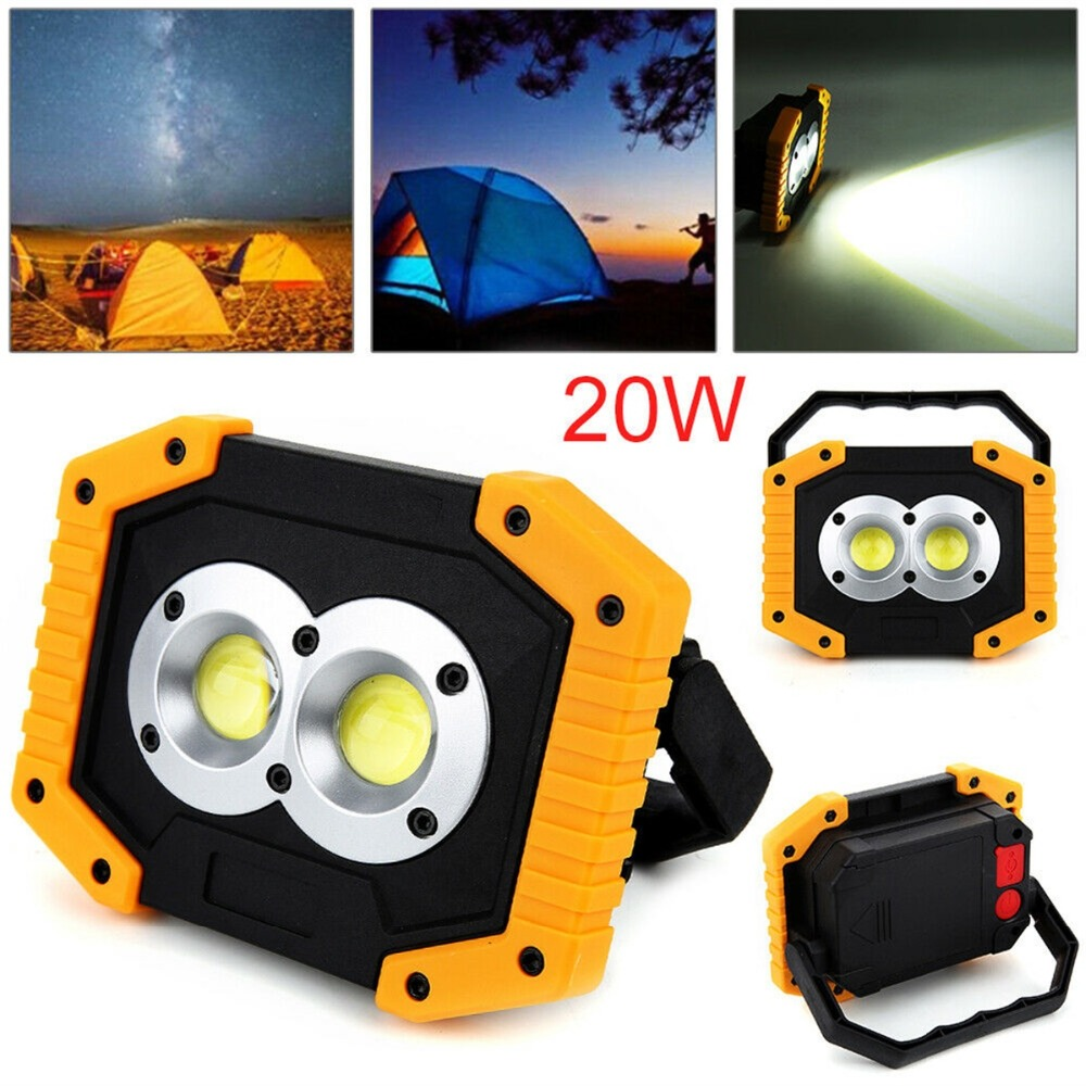 20W Waterproof COB LED Light Outdoor Work Fishing Camping USB Rechargeable Lamp