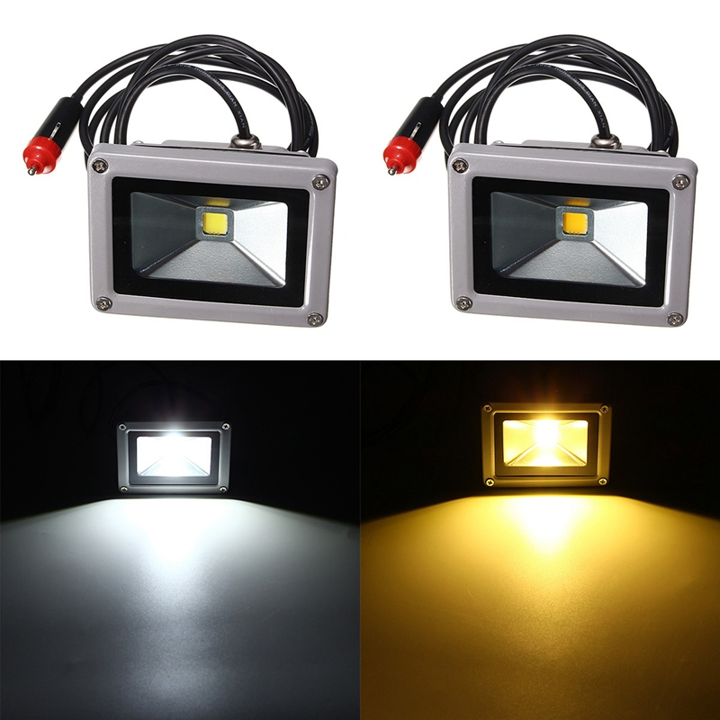 Car LED Headlight Headlamp Casting LED Floodlights Light 12V LED Flood Light 10W 7000K D8 IP65 With Car Charger Cable