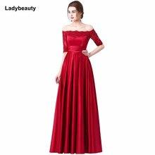 32b6144fd 2018 nuevo vino rojo bordado De encaje De satén De lujo medio manga vestido  De noche largo De la novia banquete elegante vestido.