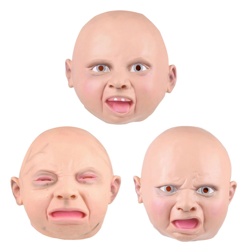 Male Female Adult Latex Mask Hood Realistic Full Face Street Funny Disgusted Happy Cry Baby Party Masks For Halloween Carnival