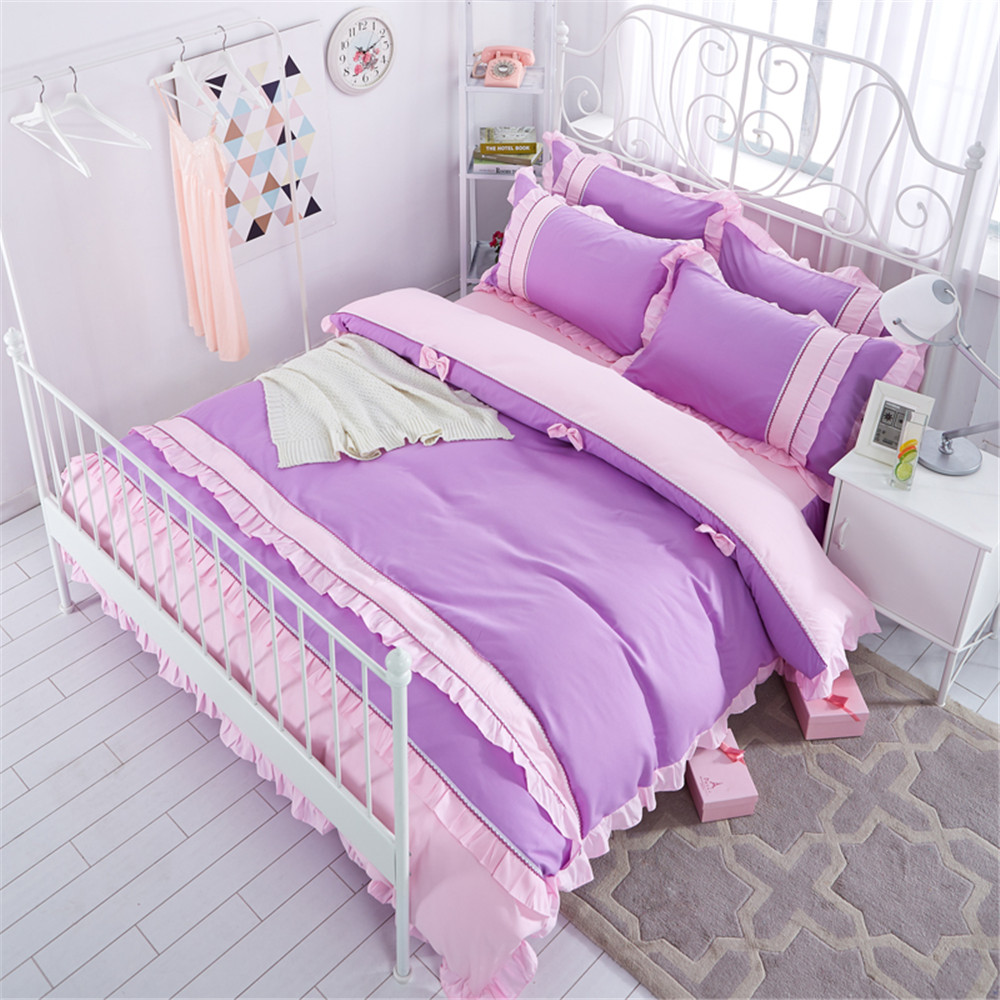 Korean style Bedding sets Lace Bow Knot Design 4Pcs King Queen size Girl/kid Duvet/Quilt cover Bed skirt Pillowcase home textileKorean style Bedding sets Lace Bow Knot Design 4Pcs King Queen size Girl/kid Duvet/Quilt cover Bed skirt Pillowcase home textile