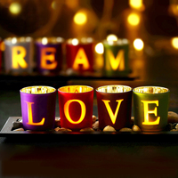 Romantic Candles Holders Love Dream DIY Colorful Candlestick Glass Holders Home Party Candlelight Dinner Wedding Decoratioin