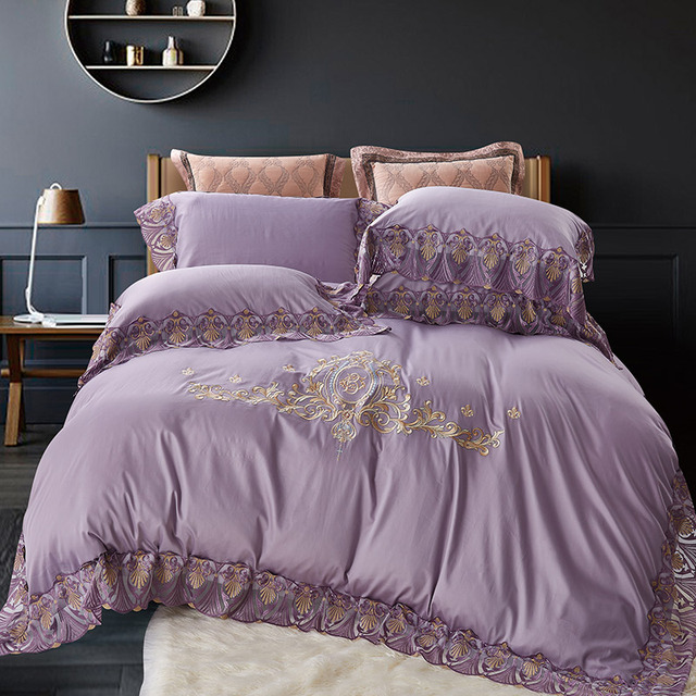 100%Cotton Lace Purple Blue Pink Bedding Sets Luxury Embroidery Duvet Cover Bed sheet Set Queen/King Size Bed set ropa de cama