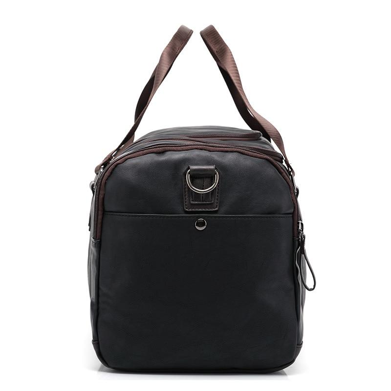 Toppkvalité Casual Travel Duffel Bag PU Läder Män Handväskor Stor - Väskor för bagage och resor - Foto 4