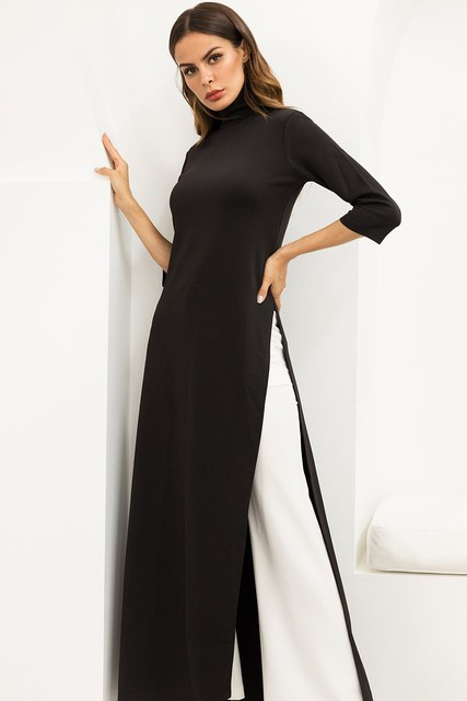 ec9e82c2072 Women Fashion Plus Size Turtleneck Maxi Dress Asymmetrical Western Style  Pullover Stretchy Black Knitted Dress