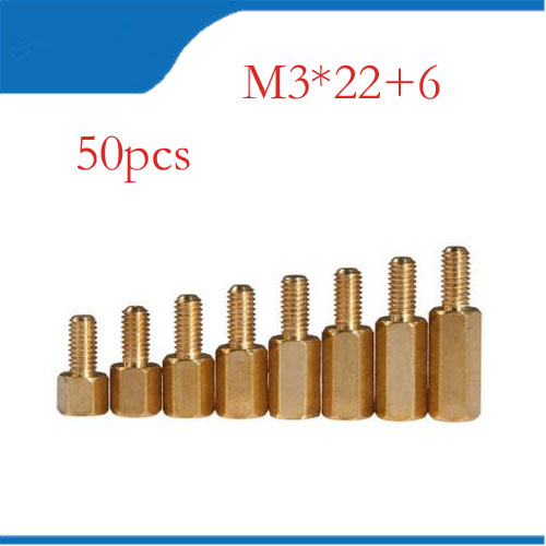 Spacer Copper 50pcs <font><b>M3</b></font> Male 6mm Female <font><b>22mm</b></font> Brass Standoff Hexagonal Stud Spacer Hollow Pillars <font><b>m3</b></font>*22+6mm image