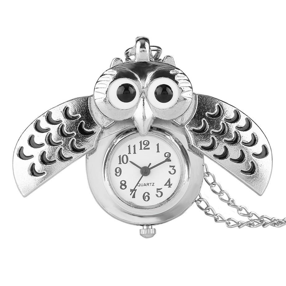 Fashion Silver Unisex Vintage Slide Smart Owl Pendant Antique Necklace Quartz Pocket Watch Analog Pendant Gift High Quality